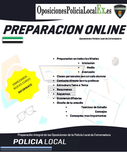 preparacion online oposiciones policia local de extremadura